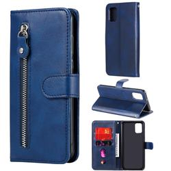Retro Luxury Zipper Leather Phone Wallet Case for Samsung Galaxy A31 - Blue
