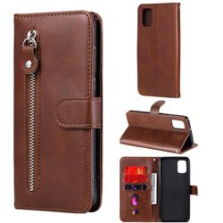 Retro Luxury Zipper Leather Phone Wallet Case for Samsung Galaxy A31 - Brown