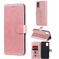 Retro Calf Matte Leather Wallet Phone Case for Samsung Galaxy A31 - Pink