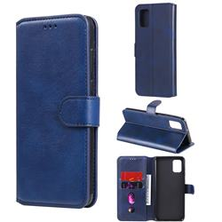 Retro Calf Matte Leather Wallet Phone Case for Samsung Galaxy A31 - Blue