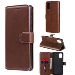 Retro Calf Matte Leather Wallet Phone Case for Samsung Galaxy A31 - Brown