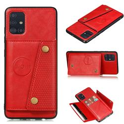 Retro Multifunction Card Slots Stand Leather Coated Phone Back Cover for Samsung Galaxy A31 - Red