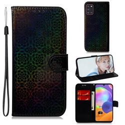 Laser Circle Shining Leather Wallet Phone Case for Samsung Galaxy A31 - Black