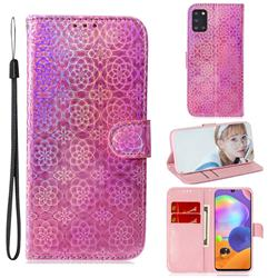 Laser Circle Shining Leather Wallet Phone Case for Samsung Galaxy A31 - Pink