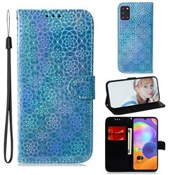 Laser Circle Shining Leather Wallet Phone Case for Samsung Galaxy A31 - Blue