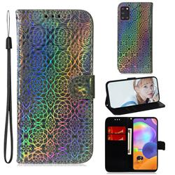 Laser Circle Shining Leather Wallet Phone Case for Samsung Galaxy A31 - Silver
