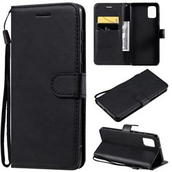 Retro Greek Classic Smooth PU Leather Wallet Phone Case for Samsung Galaxy A31 - Black