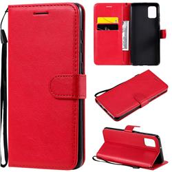 Retro Greek Classic Smooth PU Leather Wallet Phone Case for Samsung Galaxy A31 - Red