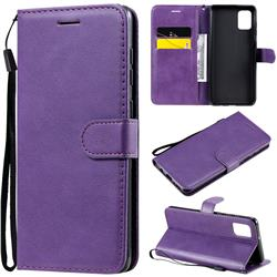 Retro Greek Classic Smooth PU Leather Wallet Phone Case for Samsung Galaxy A31 - Purple
