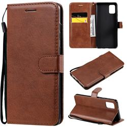 Retro Greek Classic Smooth PU Leather Wallet Phone Case for Samsung Galaxy A31 - Brown