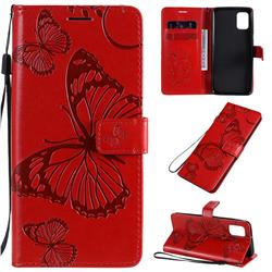 Embossing 3D Butterfly Leather Wallet Case for Samsung Galaxy A31 - Red