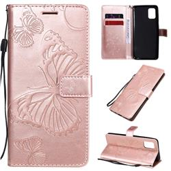 Embossing 3D Butterfly Leather Wallet Case for Samsung Galaxy A31 - Rose Gold