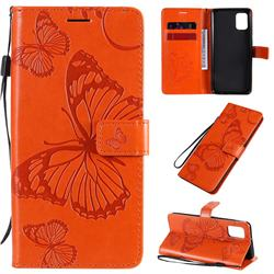 Embossing 3D Butterfly Leather Wallet Case for Samsung Galaxy A31 - Orange
