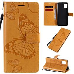 Embossing 3D Butterfly Leather Wallet Case for Samsung Galaxy A31 - Yellow