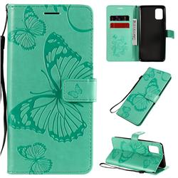 Embossing 3D Butterfly Leather Wallet Case for Samsung Galaxy A31 - Green