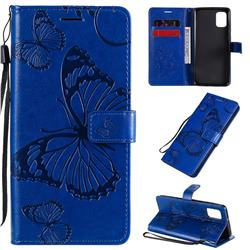 Embossing 3D Butterfly Leather Wallet Case for Samsung Galaxy A31 - Blue