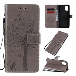 Embossing Butterfly Tree Leather Wallet Case for Samsung Galaxy A31 - Grey