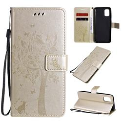 Embossing Butterfly Tree Leather Wallet Case for Samsung Galaxy A31 - Champagne