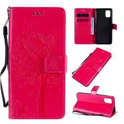 Embossing Butterfly Tree Leather Wallet Case for Samsung Galaxy A31 - Rose