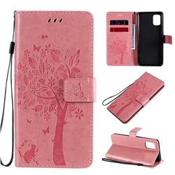 Embossing Butterfly Tree Leather Wallet Case for Samsung Galaxy A31 - Pink