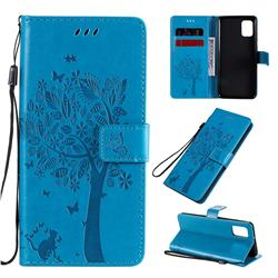 Embossing Butterfly Tree Leather Wallet Case for Samsung Galaxy A31 - Blue