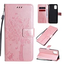 Embossing Butterfly Tree Leather Wallet Case for Samsung Galaxy A31 - Rose Pink