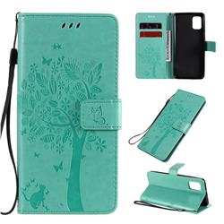 Embossing Butterfly Tree Leather Wallet Case for Samsung Galaxy A31 - Cyan