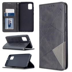Prismatic Slim Magnetic Sucking Stitching Wallet Flip Cover for Samsung Galaxy A31 - Black