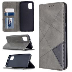 Prismatic Slim Magnetic Sucking Stitching Wallet Flip Cover for Samsung Galaxy A31 - Gray