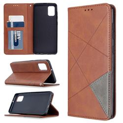 Prismatic Slim Magnetic Sucking Stitching Wallet Flip Cover for Samsung Galaxy A31 - Brown