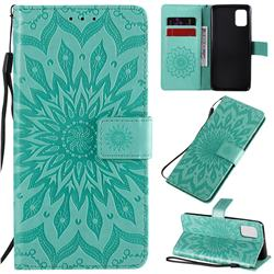 Embossing Sunflower Leather Wallet Case for Samsung Galaxy A31 - Green