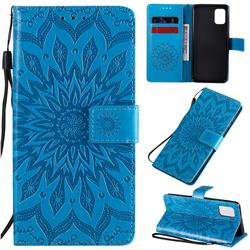 Embossing Sunflower Leather Wallet Case for Samsung Galaxy A31 - Blue