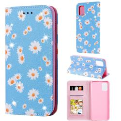 Ultra Slim Daisy Sparkle Glitter Powder Magnetic Leather Wallet Case for Samsung Galaxy A31 - Blue