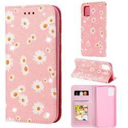 Ultra Slim Daisy Sparkle Glitter Powder Magnetic Leather Wallet Case for Samsung Galaxy A31 - Pink