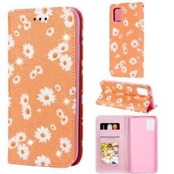 Ultra Slim Daisy Sparkle Glitter Powder Magnetic Leather Wallet Case for Samsung Galaxy A31 - Orange