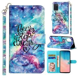Blue Starry Sky 3D Leather Phone Holster Wallet Case for Samsung Galaxy A31