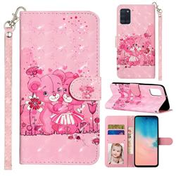 Pink Bear 3D Leather Phone Holster Wallet Case for Samsung Galaxy A31