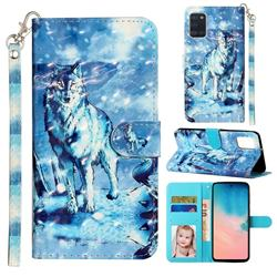 Snow Wolf 3D Leather Phone Holster Wallet Case for Samsung Galaxy A31
