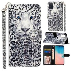 White Leopard 3D Leather Phone Holster Wallet Case for Samsung Galaxy A31