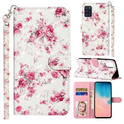Rambler Rose Flower 3D Leather Phone Holster Wallet Case for Samsung Galaxy A31