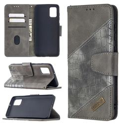 BinfenColor BF04 Color Block Stitching Crocodile Leather Case Cover for Samsung Galaxy A31 - Gray