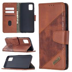 BinfenColor BF04 Color Block Stitching Crocodile Leather Case Cover for Samsung Galaxy A31 - Brown