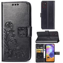 Embossing Imprint Four-Leaf Clover Leather Wallet Case for Samsung Galaxy A31 - Black