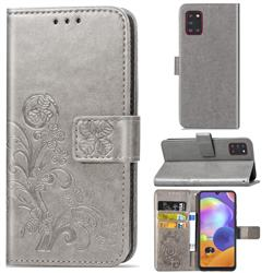 Embossing Imprint Four-Leaf Clover Leather Wallet Case for Samsung Galaxy A31 - Grey