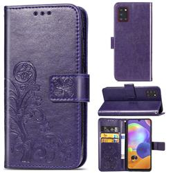 Embossing Imprint Four-Leaf Clover Leather Wallet Case for Samsung Galaxy A31 - Purple