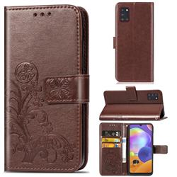 Embossing Imprint Four-Leaf Clover Leather Wallet Case for Samsung Galaxy A31 - Brown