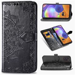 Embossing Imprint Mandala Flower Leather Wallet Case for Samsung Galaxy A31 - Black