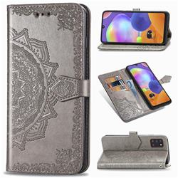 Embossing Imprint Mandala Flower Leather Wallet Case for Samsung Galaxy A31 - Gray