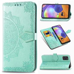 Embossing Imprint Mandala Flower Leather Wallet Case for Samsung Galaxy A31 - Green