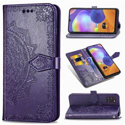 Embossing Imprint Mandala Flower Leather Wallet Case for Samsung Galaxy A31 - Purple